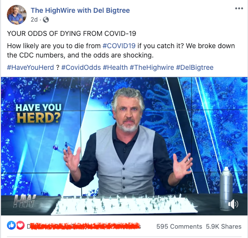 """Del Bigtree says that """"...either we are going to get to herd immunity by catching this cold or they are going to inject you with it to try and stop it."""""""