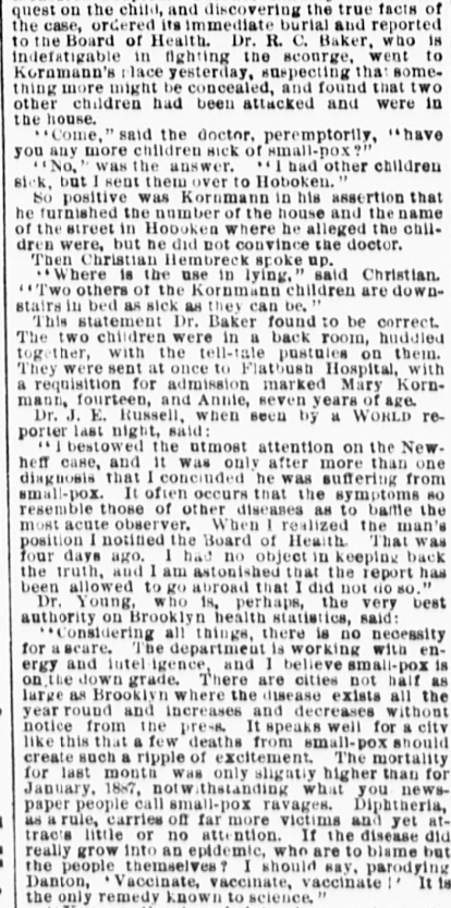 This February 3, 1888 article in The World highlights how contact tracing helped control smallpox.