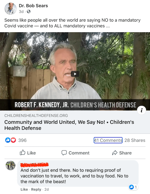 Is Bob Sears going to tell his families to say no to a COVID-19 vaccine that isn't mandated?