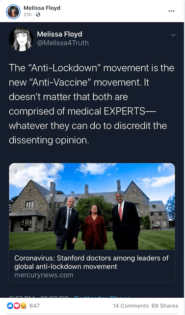 "The medical experts of the ""Anti-Lockdown movement"" are compromised of homeopaths, chiropractors, doctors who have lost their licenses, and folks who seem to think that they are doctors..."