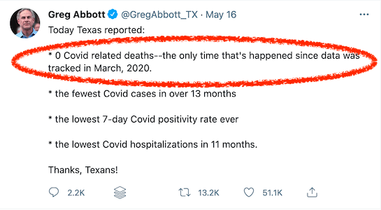 At least 2,822 people have died with COVID in Texas since Greg Abbott lifted the mask mandate in March.