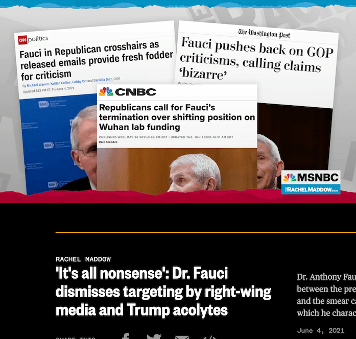 Anthony Fauci says that the anti-science attacks against him are all fabricated.