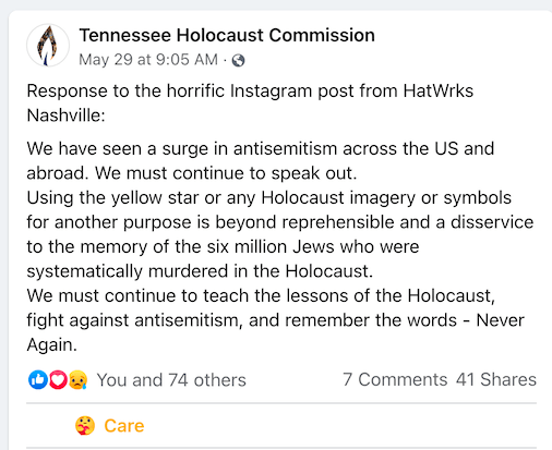 Using the yellow star or any Holocaust imagery or symbols for another purpose is beyond reprehensible and a disservice to the memory of the six million Jews who were systematically murdered in the Holocaust.