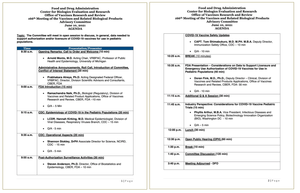 The agenda for the June 10 Vaccines and Related Biological Products Advisory Committee meeting, which you can attend online!
