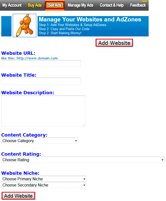 Registrar web en JuicyAds