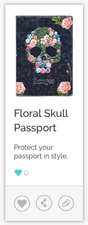 Floral Skull Passport Cover