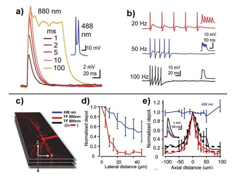 High spatiotemporal resolution optogenetic two-photon microscopy
