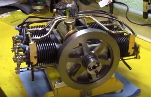 Модель оппозитного двигателя 6 цилиндров