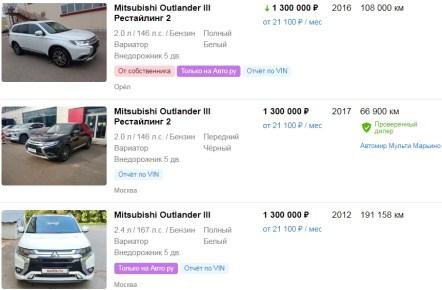 Цены на MITSUBISHI OUTLANDER