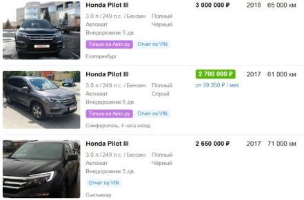 Цены на HONDA PILOT