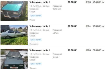 Цены на VOLKSWAGEN JETTA