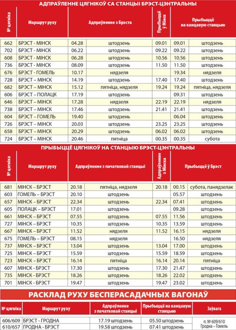 Расписание движения пассажирских и пригородных поездов