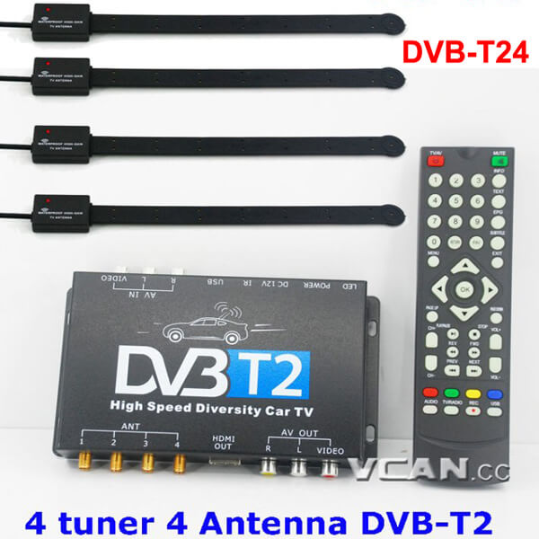 car dvb t2 4 tuner 4 antenna digital tv receiver for high. Black Bedroom Furniture Sets. Home Design Ideas
