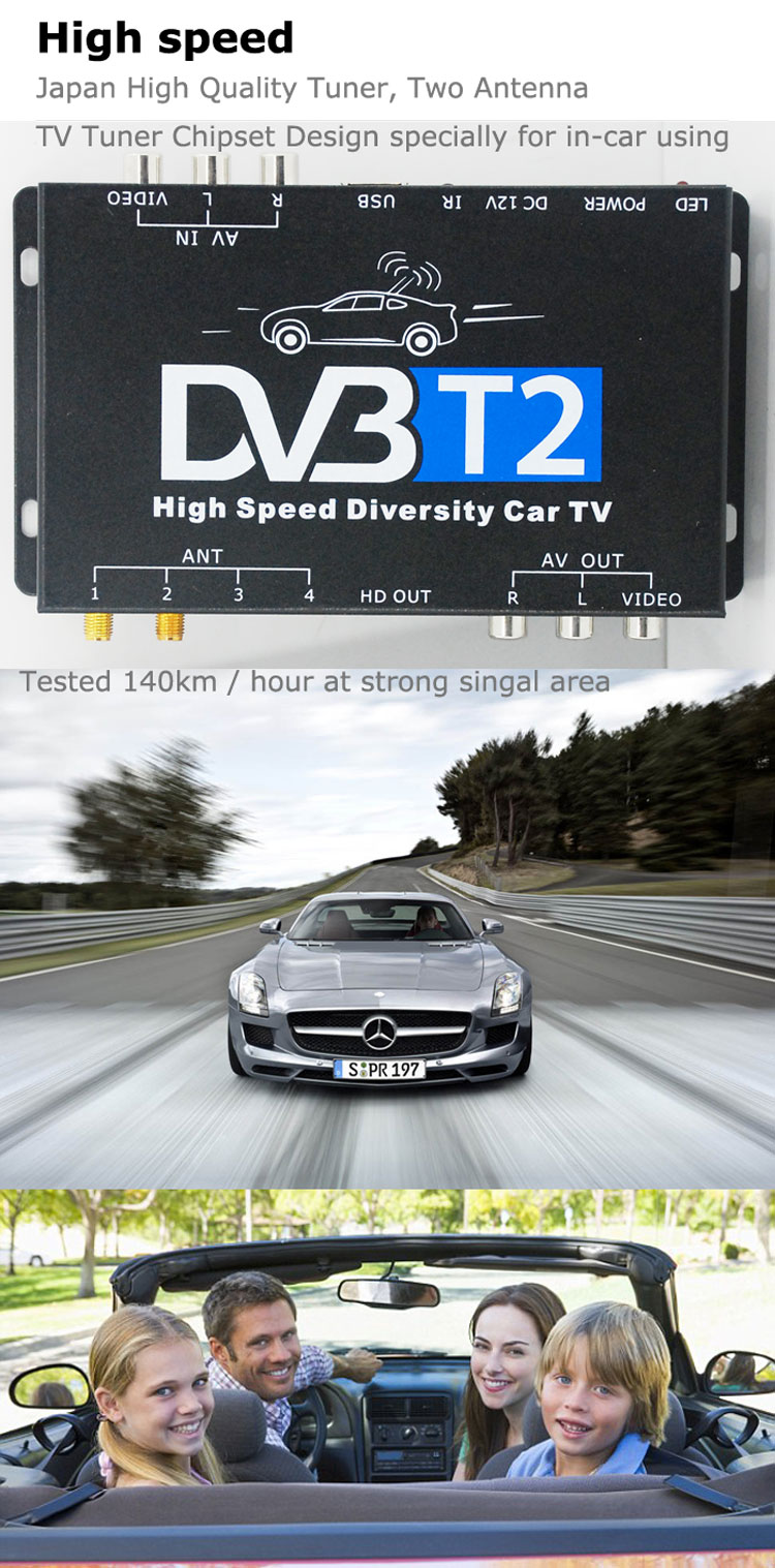 Car DVB-T2 DVB-T Multi PLP Digital TV Receiver automobile DTV box ...