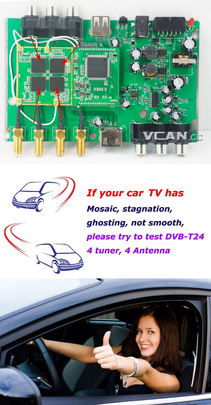 Car DVB-T2 4 Tuner 4 Antenna Digital TV Receiver for High speed auto