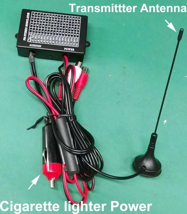 FM Transmitter + Cigarette Lighter power + antenna