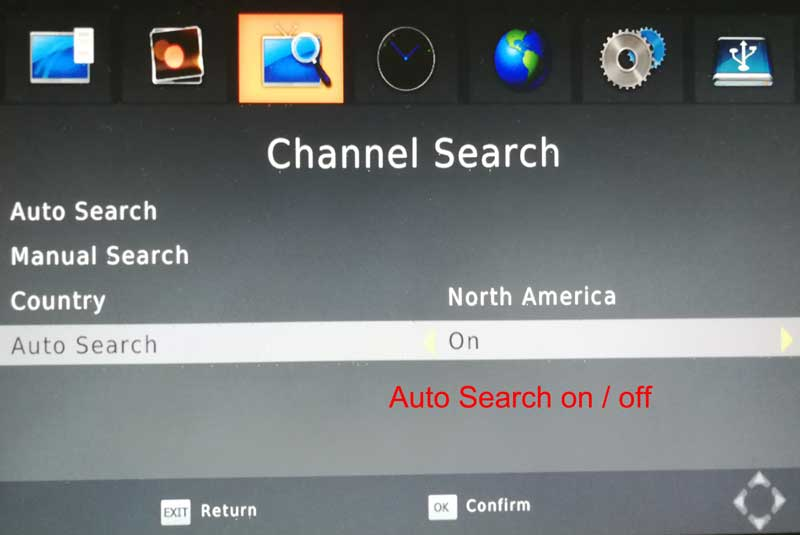 DVB T241 auto search on off switch