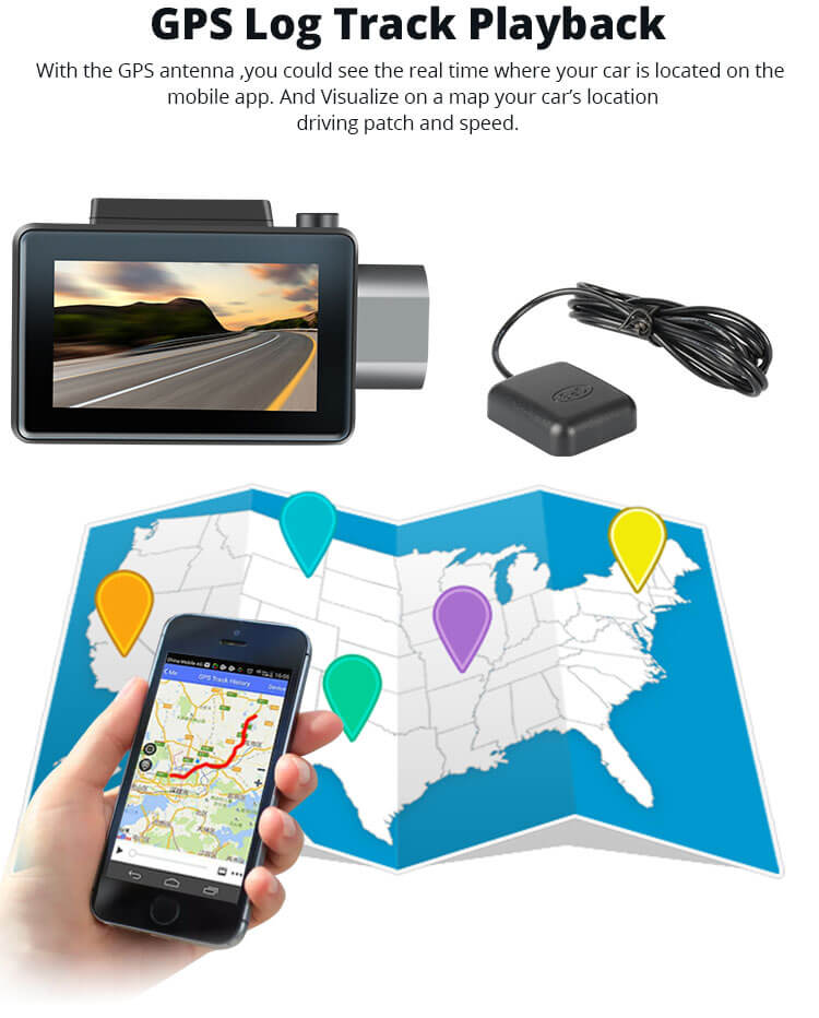 Android Dash Cam Car DVR Camera GPS Logger 3G WiFi Dual Lens WDR Video Recorder 5.1 Rearview camera Vcan1608 4 -