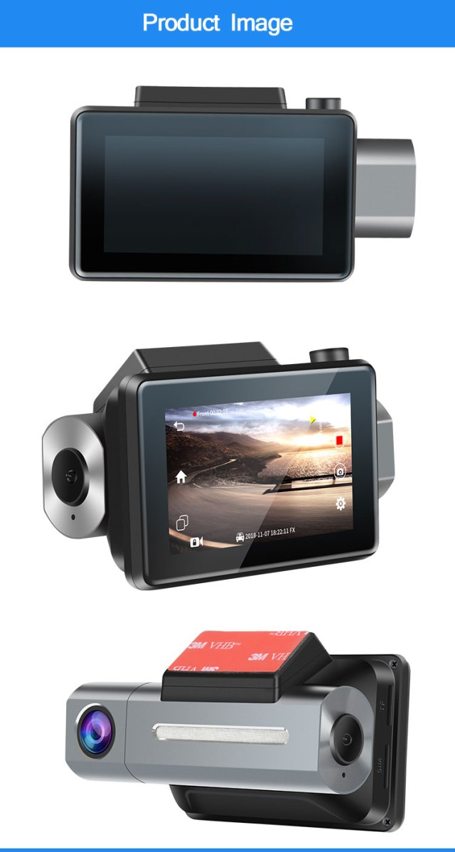 Android DVR dashcam car camera 3.0 inch full 1080 HD GPS logger dual camera video recorder Vcan1608 7 -