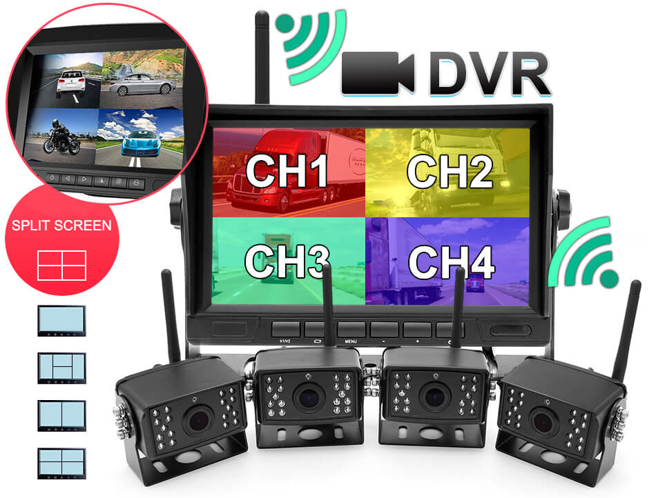 7 inch Wireless DVR quad monitor camera for Truck vehicle with AHD 1280 Night Vision HD Wifi Camera SD card 8