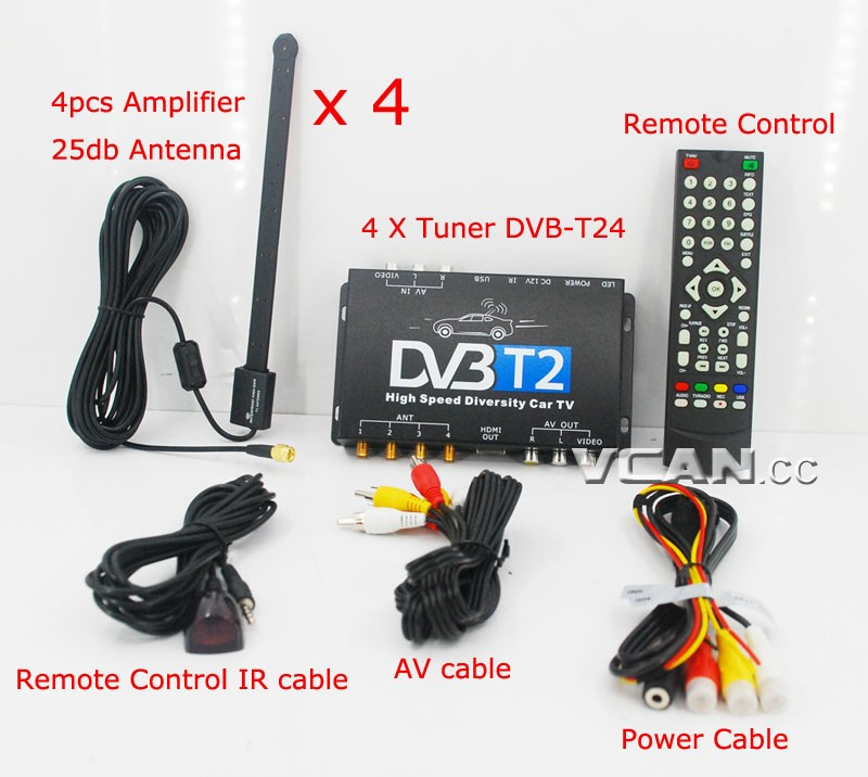 Car DVB-T2 4 Tuner 4 Antenna Digital TV Receiver for High speed auto mobile with USB movie player HDMI out HDTV DVB-T24 21