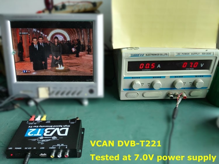 DVB-T2 will working well at lower voltage power supply even only 7V, much less 12V