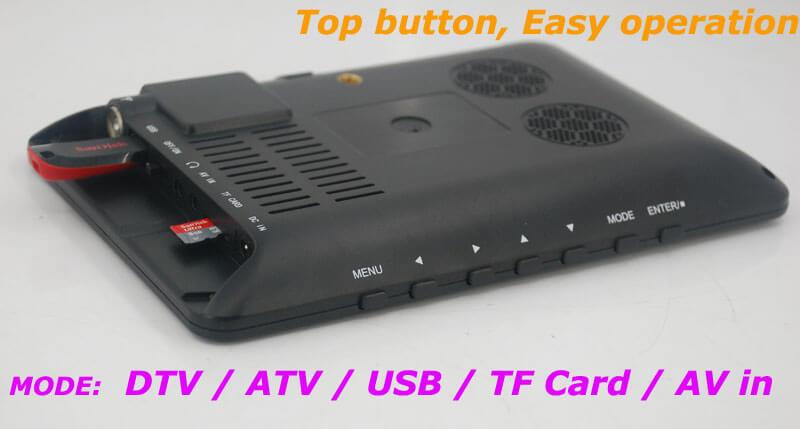 7 inch ISDB-T Digital ISDBT TV HD MPEG4 FULL SEG Analog TV USB TF MP5 player AV input Rechargeable Battery 20