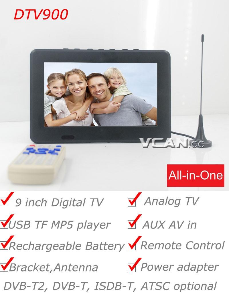 DTV900 DVB-T2 DVB-T ATSC ISDB-T 9 inch Digital TV Analog TV USB TF MP5 player AV in Rechargeable Battery 16