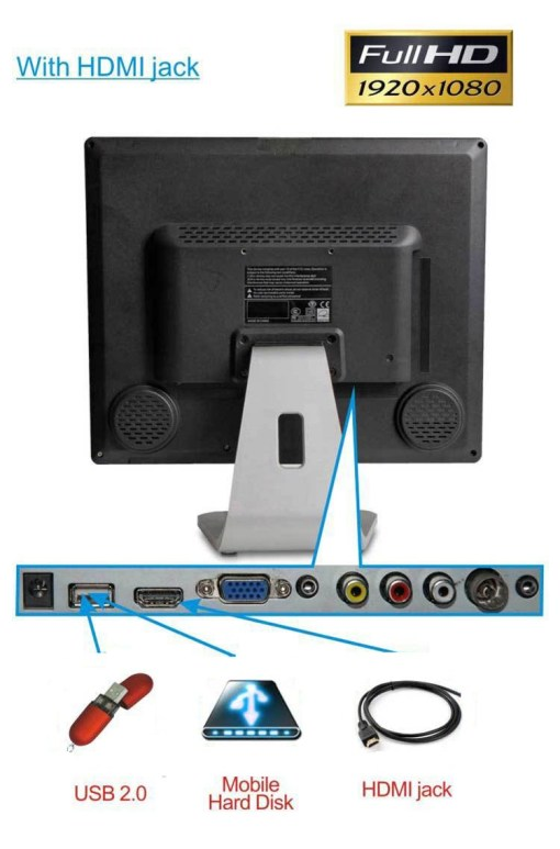 17 inch ISDB-T DVB-T2 ATSC digital VGA LCD TV MPEG4 HD DTV with HDMI USB 3
