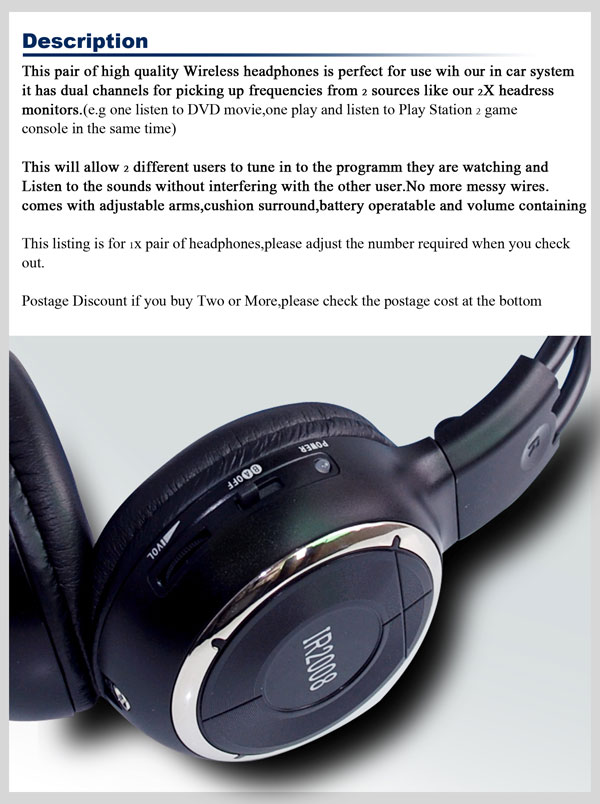 car wireless IR stereo TV headphone infrared headset