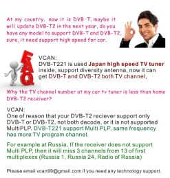 Car DVB-T2 DVB-T MULTI PLP Digital TV Receiver 15