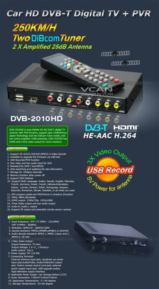 Car DVB-T Receiver MPEG4 H.264 2 tuner 2 diversity antenna Booster Recorder DVBT 4