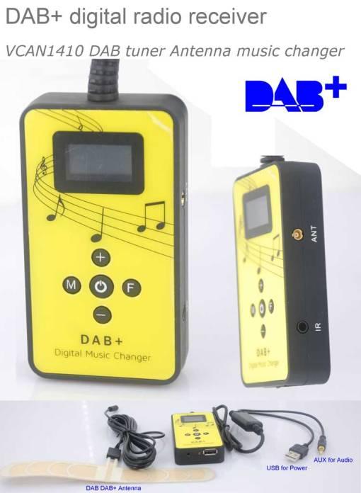 DAB+ Plus digital radio receiver dab plus tuner Antenna USB power AUX input music changer VCAN1410 1