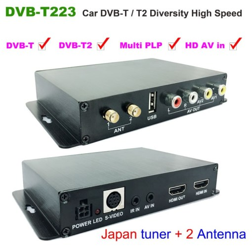 Car DVB-T2 DVB-T Multi PLP Digital TV Receiver 2 Antenna Diversity Dual Aerial H264 MPEG4 HD High Speed FTA STB 1
