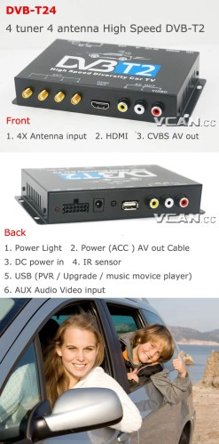 Car DVB-T2 4 Tuner 4 Antenna Digital TV Receiver for High speed auto mobile with USB movie player HDMI out HDTV DVB-T24 10