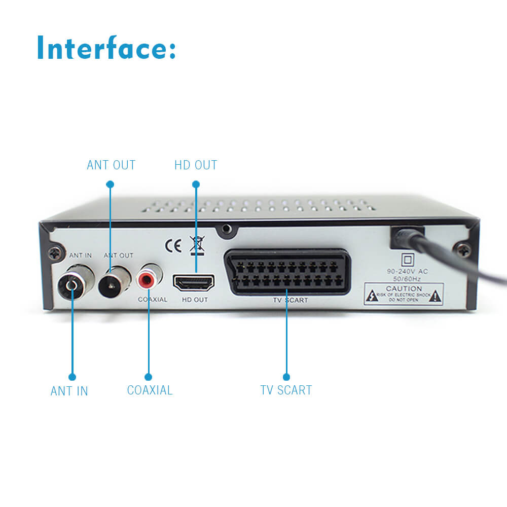 Home DVB-T2 H.265 HEVC H.264 DVB-T Receiver HDMI RCA Terrestrial Digital TV Receiver TV Tuner SCART MPEG4 29