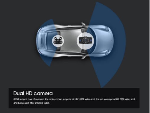 VCAN1391 3inch LCD screen 1080P dual lens car dash camera with car plate number recognition function 7