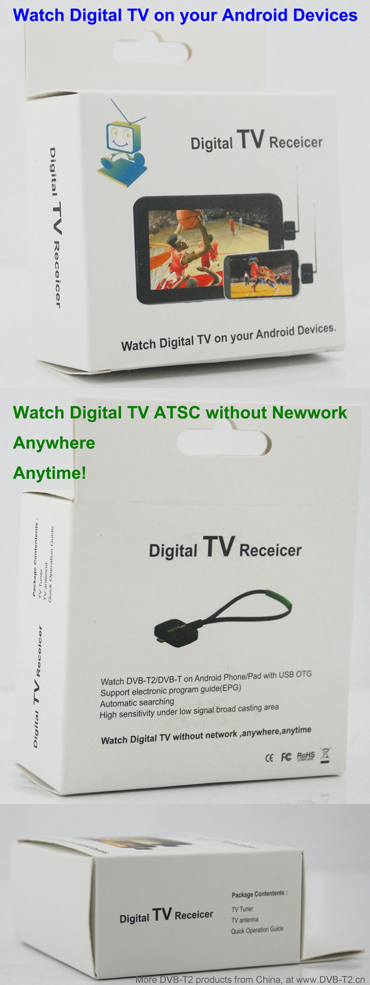 ATSC USB TV stick mobile phone use tuner USA Canada Mexico micro usb android phone pad ATSC-77 20