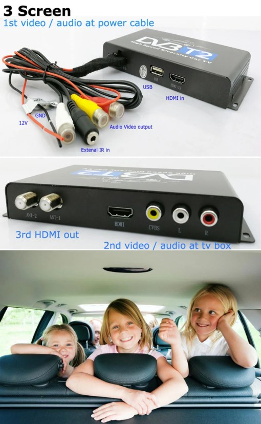 Car DVB-T2 H265 HEVC Codec Digital TV Receiver Auto Mobile Germany Standard 2 antenna H264 HD for all dvb country 4