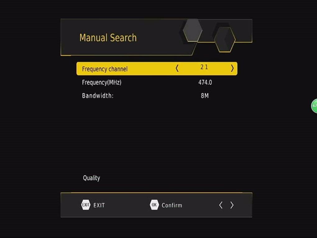 DVB-T265 Channel Manual Search OSD Menu