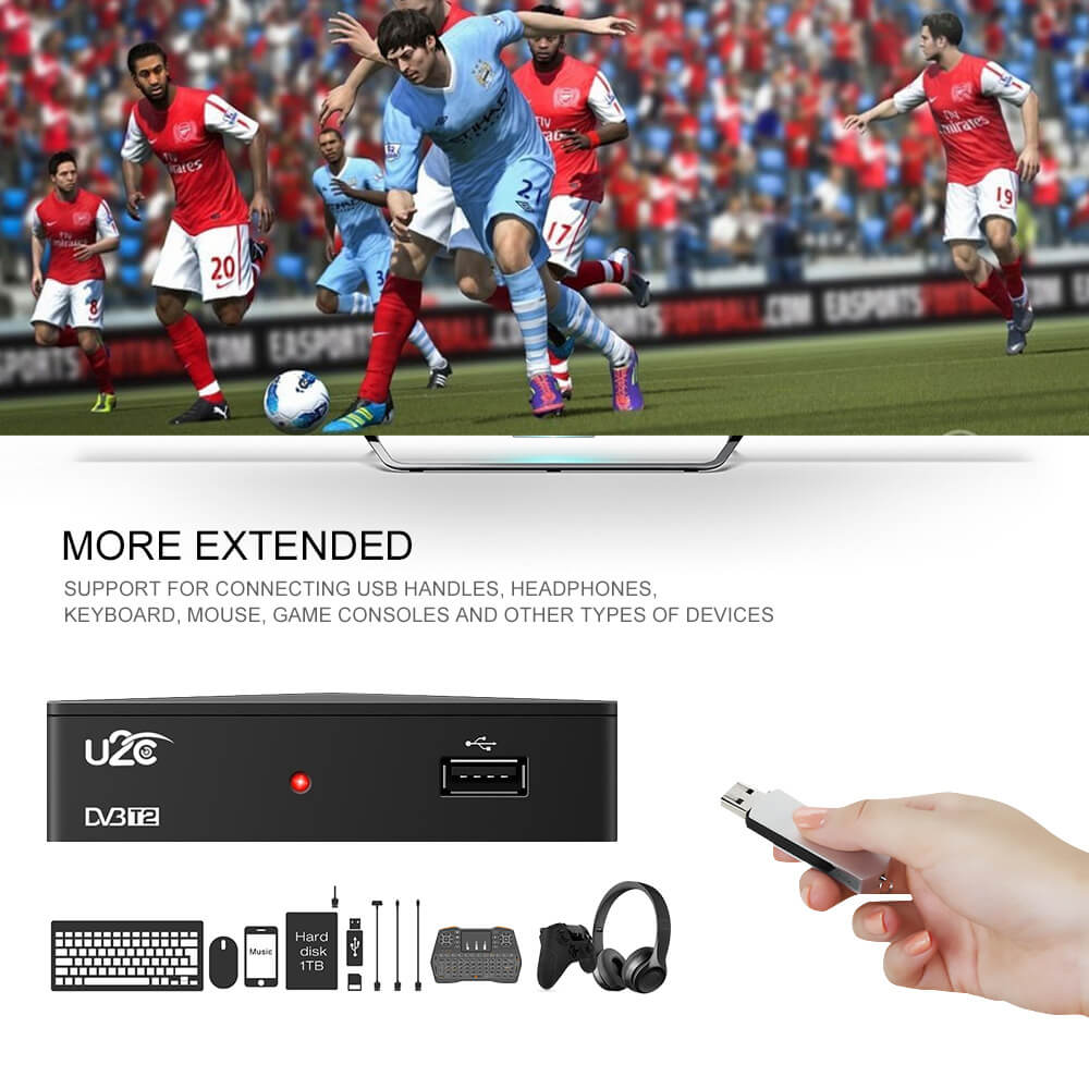 Home STB DVB-T2 90mm factory price HD digital tv box receiver 7