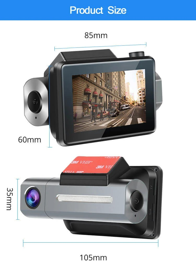 Android Dash Cam Car DVR Camera GPS Logger 3G WiFi Dual Lens WDR Video Recorder 5.1 Rearview camera Vcan1608 1