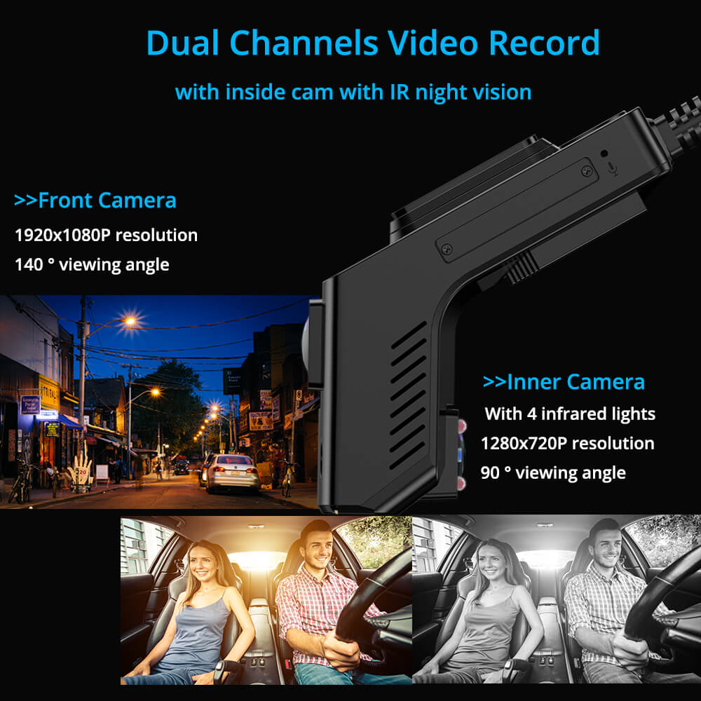 dual lens DVR dashcam recorder front and inner view