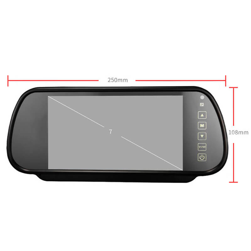7 Inch Car Mirror Monitor Touch Button Auto Vehicle Parking Rear View Reverse HD Two inputs, install at original mirror RVM-700 20