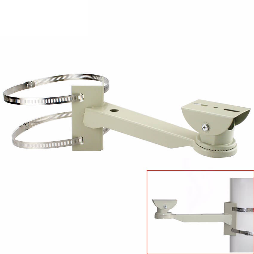 Pipe Lamp Post mount camera bracket Universal Surveillance Pole Mounting Bracket For CCTV Camera Outdoor Housing Bracket With Ring Vcan1544 18