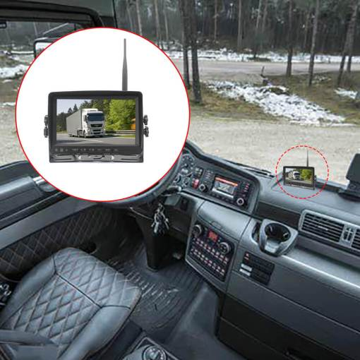 7 inch quad monitor wireless camera DVR for auto mobile truck Vehicle screen rear view monitor reverse backup recorder wifi camera 5
