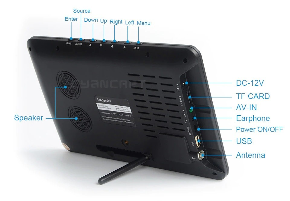 9 Inch HD Portable Digital TV DVB-T2 ATSC ISDB-T TDT Analog Mini Small Car Television Support USB SD Card MP4 AC3 29