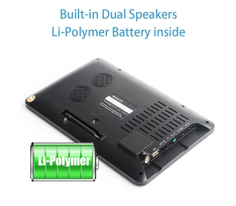9 Inch HD Portable Digital TV DVB-T2 ATSC ISDB-T TDT Analog Mini Small Car Television Support USB SD Card MP4 AC3 32