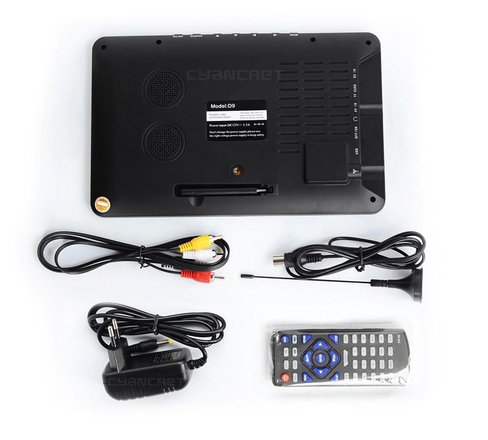 9 Inch HD Portable Digital TV DVB-T2 ATSC ISDB-T TDT Analog Mini Small Car Television Support USB SD Card MP4 AC3 34