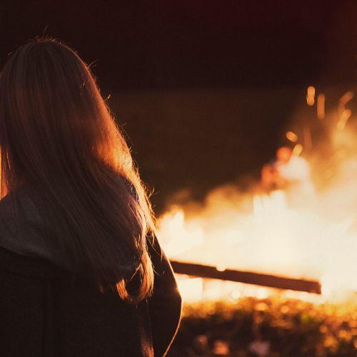 Women's Bonfire At The Beach